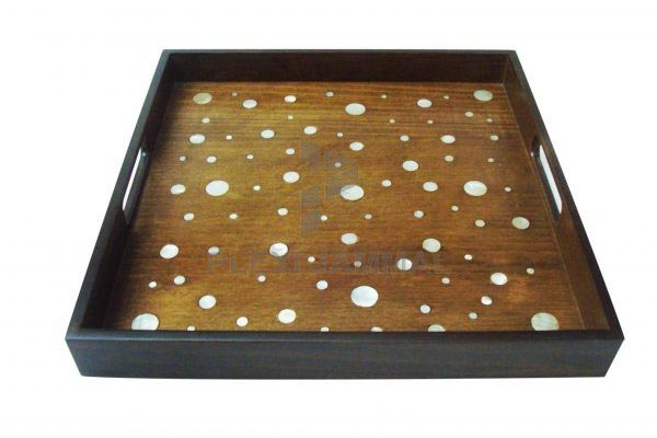 Tray wood mother of pearl circle