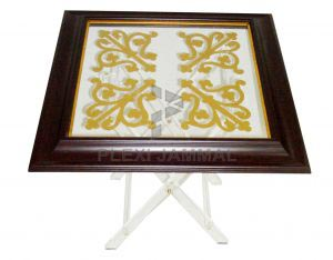 table gold frame brown