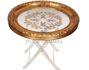 table oval wood gold