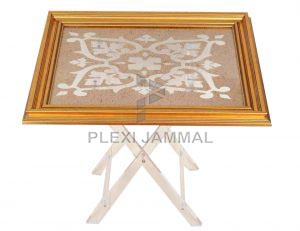 table gold frame gold